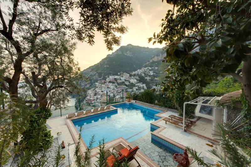 Pool with views over Positano