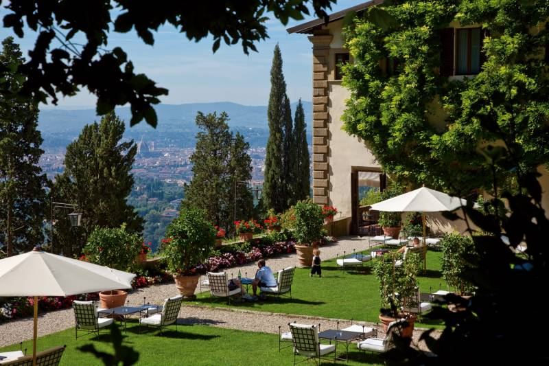 Detail of the Italian Gardens with views on Florence