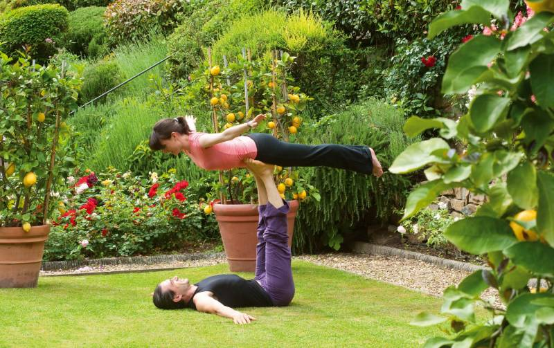A yoga session in the hotel's lush gardens
