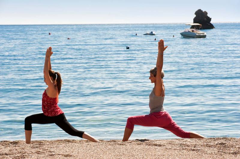 A yoga session by the sea