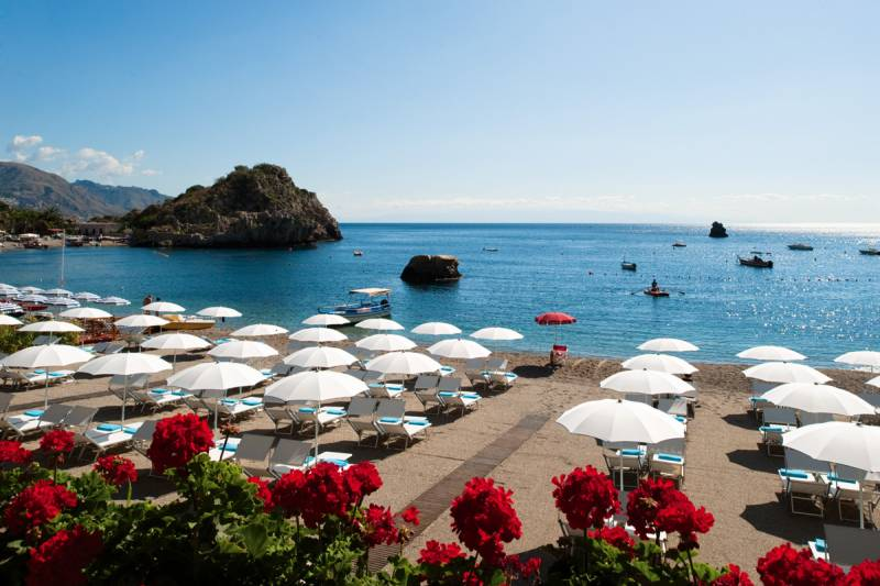 The stunning private beach on the bay of Mazzaro