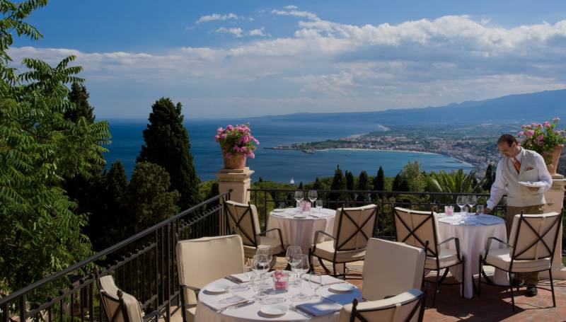The Restaurant terrace, with stunning views on the Bay of Taormina