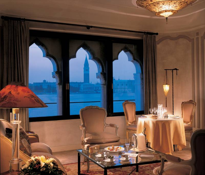 The sitting room of a suite in the Palazzo Vendramin with breathtaking views over St. Mark's and central Venice