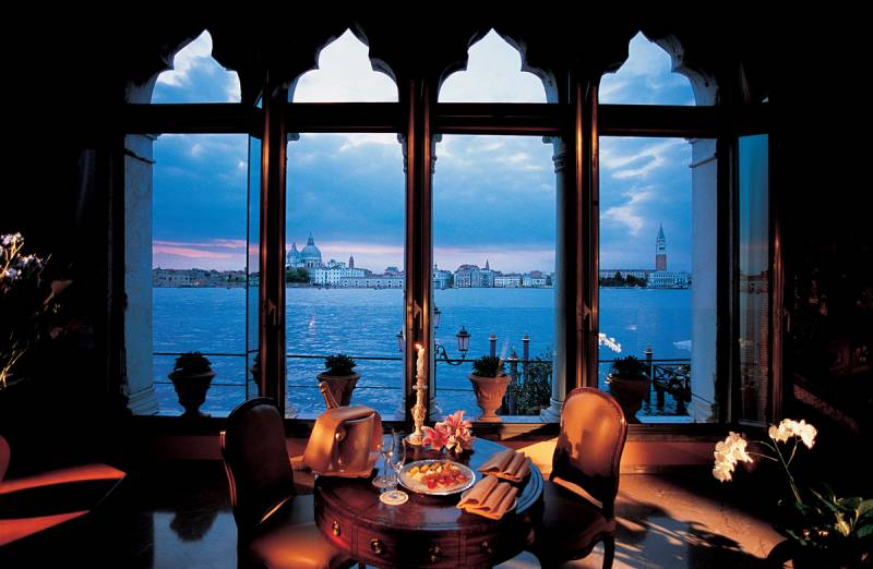 The incomparable view from the sitting room of the exclusive Dogaressa Suite framed by four gothic windows