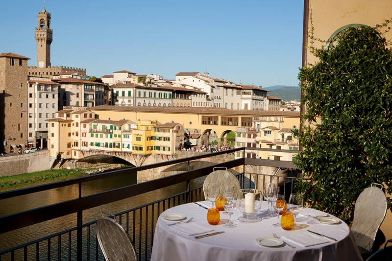 Dinner on Private Terrace overlooking the Ponte Vecchio and River Arno
