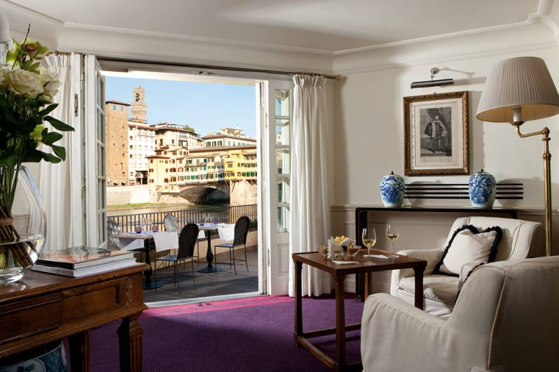 Ponte Vecchio view from Lobby Hotel Lungarno Florence