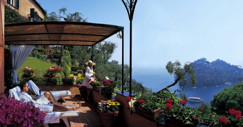 The magnificent terrace of a junior suite at Hotel Splendido