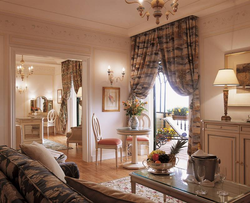 Main living and bedroom area of the Presidential Suite at Hotel Splendido