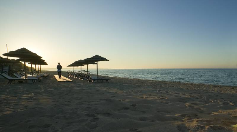 Waiter service on the private beach