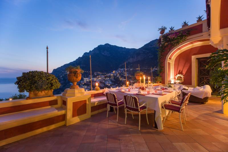 Dinner on the terrace overlooking Positano