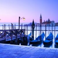 gondolas at dusk in Venice