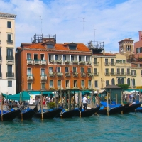 Gondolas lined up in Venice, Northern Italy