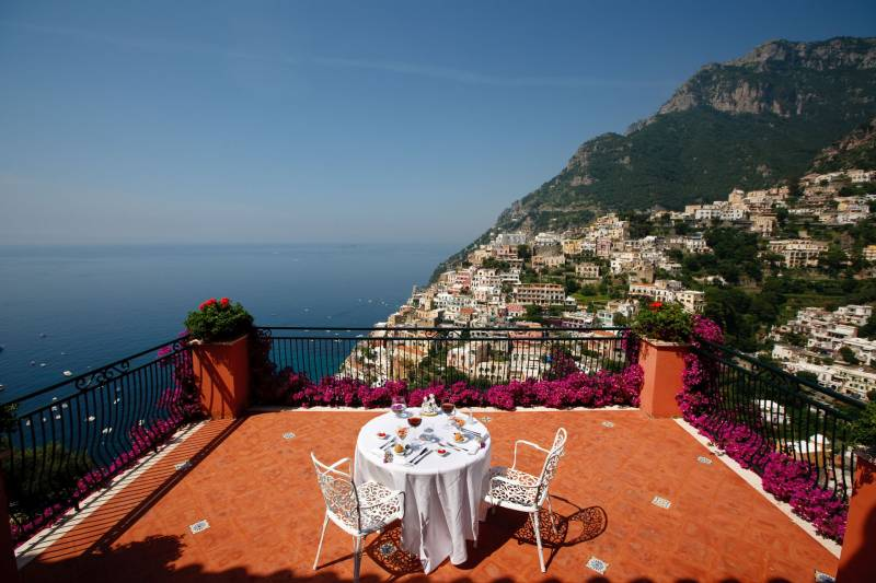 Terraces with panoramic views over Positano