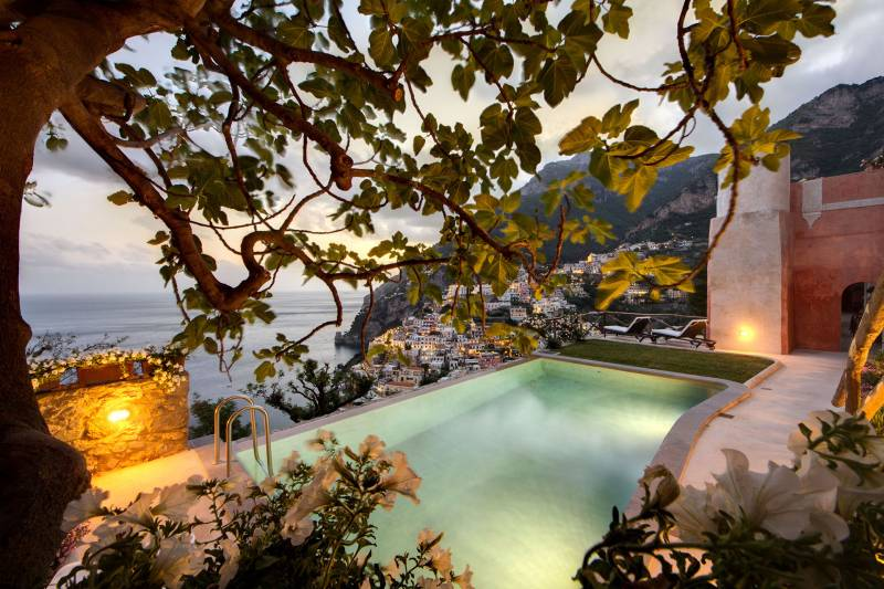 Views from the pool over Positano
