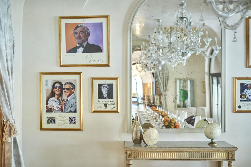 Detail of the wall of fame in the San Giorgio room at Belmond Hotel Cipriani