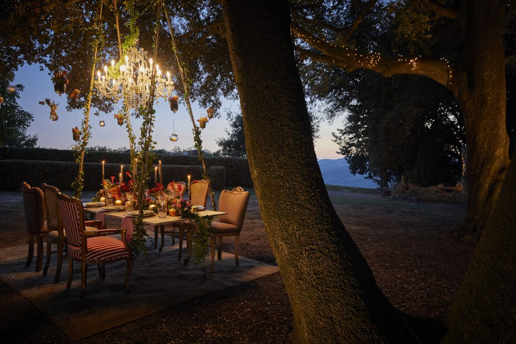 Enchanted table in the Tuscan forest at Belmond Castello Di Casole